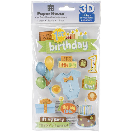 Birthday Collection My 1st First Birthday 5 x 7 Little Boy 3D Glitter Scrapbook Embellishment by Paper House Productions