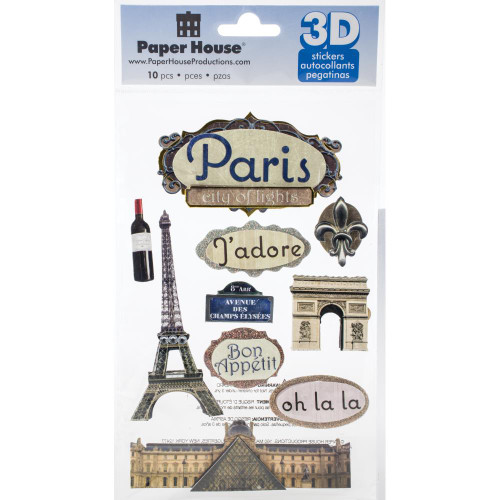 Travel Collection Paris, France 5 x 7 Glitter 3D Scrapbook Embellishment by Paper House Productions