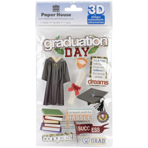 School Collection Graduation Day 5 x 7 Glitter 3D Scrapbook Embellishment by Paper House Productions
