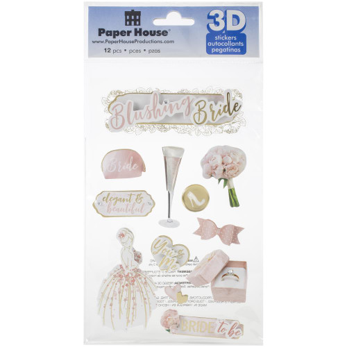 Wedding Day Collection Blushing Bride 5 x 7 Glitter 3D Scrapbook Embellishment by Paper House Productions