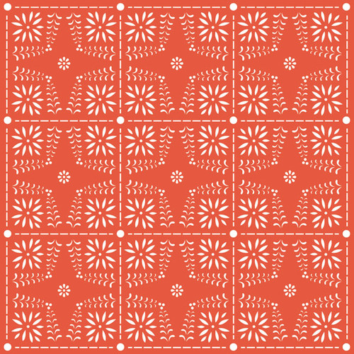 Day Of The Dead Collection Mexican Fans and Red Cutwork 12 x 12 Double-Sided Scrapbook Paper by Scrapbook Customs