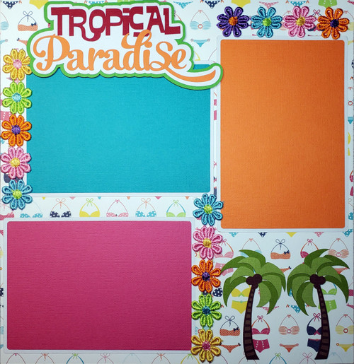 Tropical Paradise Coconut Drink Premade Embellished Two-Page 12 x 12 Scrapbook Layout by SSC Designs