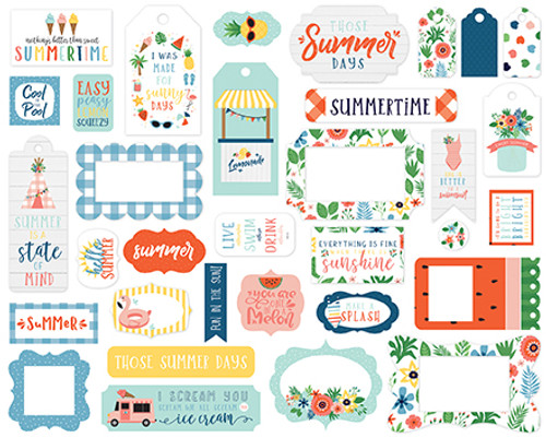 Summertime Collection Frames & Tags 5 x 5 Scrapbook Die Cuts by Echo Park Paper