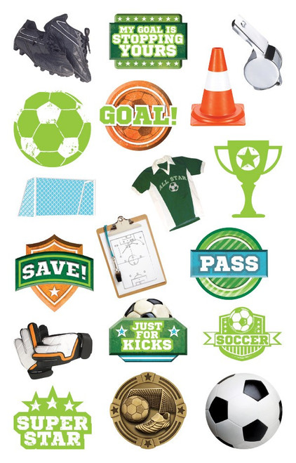 Soccer Collection Die Cut Sticker Pack by Paper House Productions - 36 Stickers
