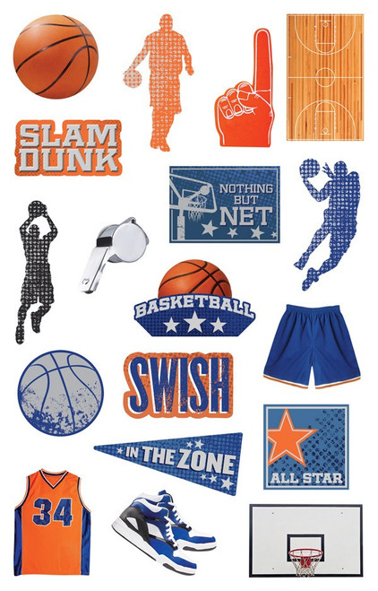 Basketball Collection Die Cut Sticker Pack by Paper House Productions - 36 Stickers