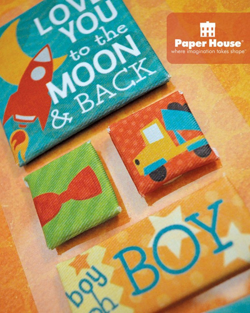 Little Man Collection 4 x 8  Canvas Scrapbook Embellishments by Paper House Productions