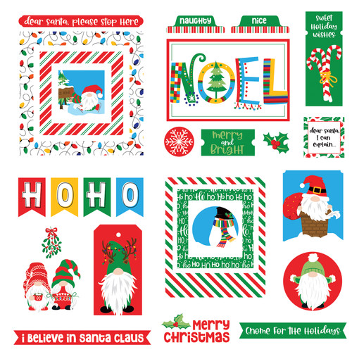 Gnome For The Holidays Christmas Collection 5 x 5 Scrapbook Cardstock Ephemera by Photo Play Paper