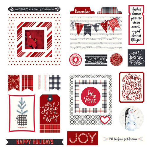 Christmas Cheer Collection 5 x 5 Scrapbook Cardstock Ephemera by Photo Play Paper