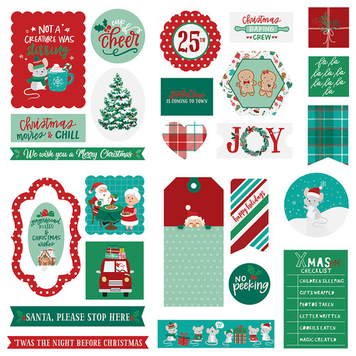 Not A Creature Was Stirring Collection 5 x 5 Scrapbook Cardstock Ephemera by Photo Play Paper