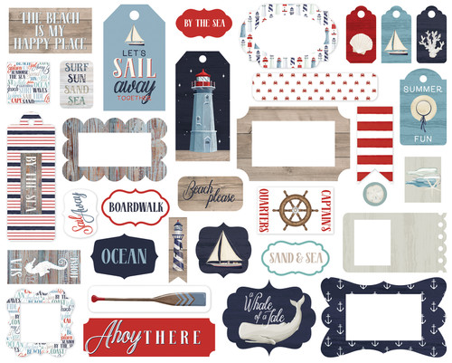 By The Sea Collection Frames & Tags 5 x 5 Scrapbook Cardstock Die Cuts by Carta Bella