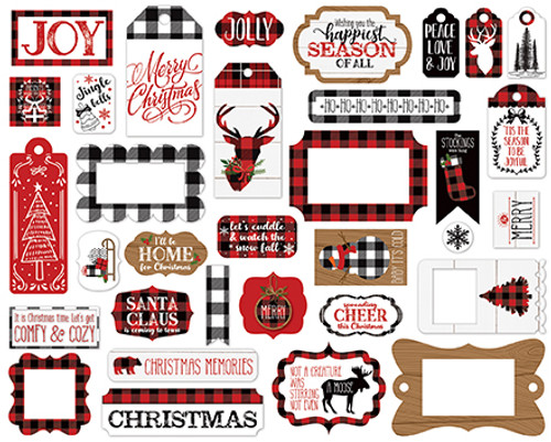 A Lumberjack Christmas Collection Tags & Frames 5 x 5 Scrapbook Die Cut Embellishments by Echo Park Paper