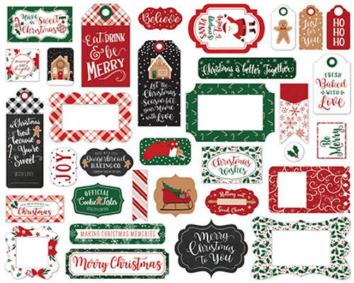 A Gingerbread Christmas Collection Tags & Frames 5 x 5 Scrapbook Die Cut Embellishments by Echo Park Paper