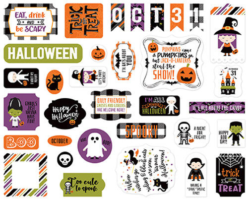 I Love Halloween Collection Ephemera 5 x 5 Scrapbook Die Cut Embellishments by Echo Park Paper