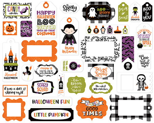 I Love Halloween Collection Tags & Frames 5 x 5 Scrapbook Die Cut Embellishments by Echo Park Paper