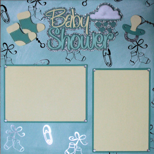 Baby Shower 2 - 12 x 12 Pages - Premade, Fully-Assembled and Hand-Embellished Scrapbook Layout by SSC Designs