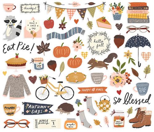 Cozy Days Collection Bits & Pieces Die Cut Scrapbook Embellishments by Simple Stories