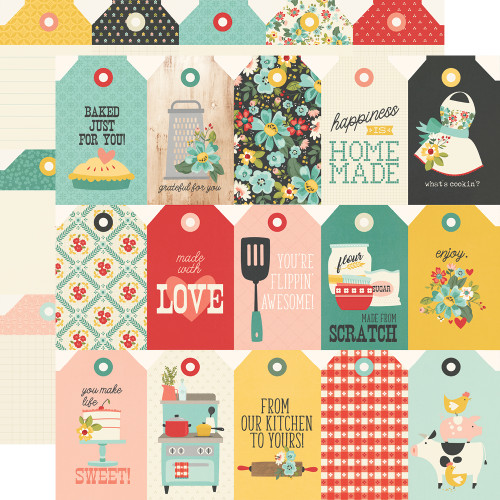 Apron Strings Collection Tags 12 x 12 Double-Sided Scrapbook Paper by Simple Stories