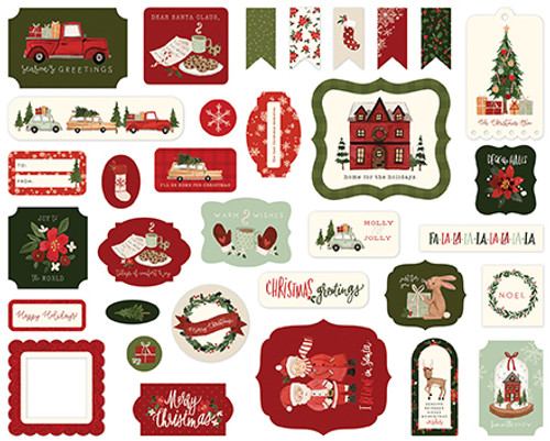 Hello Christmas Collection Ephemera Die Cut Scrapbook Embellishments by Carta Bella