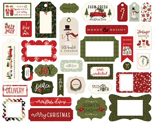 Hello Christmas Collection Frames & Tags Die Cut Scrapbook Embellishments by Carta Bella