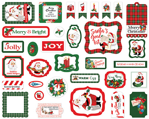 Dear Santa Collection Ephemera Die Cut Scrapbook Embellishments by Carta Bella