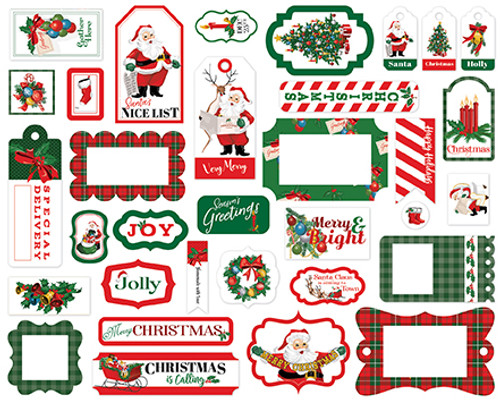 Dear Santa Collection Frames & Tags Die Cut Scrapbook Embellishments by Carta Bella