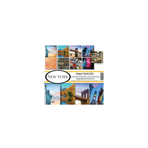 New York Collection Scrapbook Page Kit by Reminisce (includes 8 - 12 x 12 Double-Sided Papers and 1 Coordinating 12 x 12 Sticker Sheet)