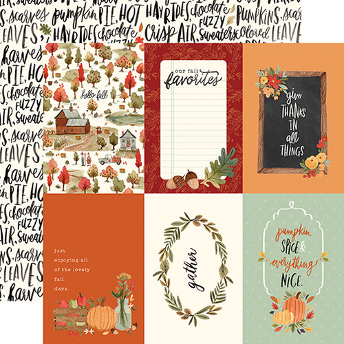 Hello Autumn Collection 4X6 Journaling Cards 12 x 12 Double-Sided Scrapbook Paper by Carta Bella