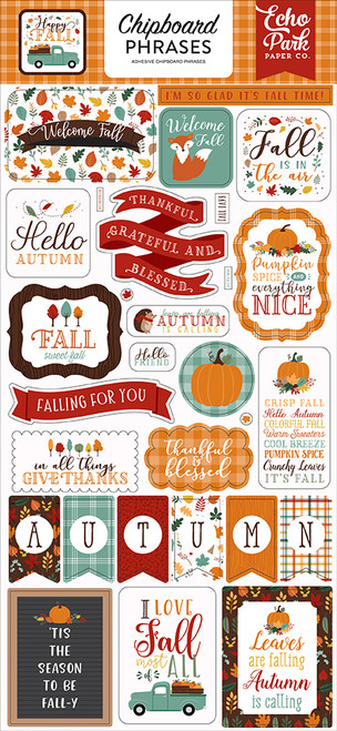Happy Fall Collection 6 x 12 Chipboard Phrases Scrapbook Embellishments by Echo Park Paper