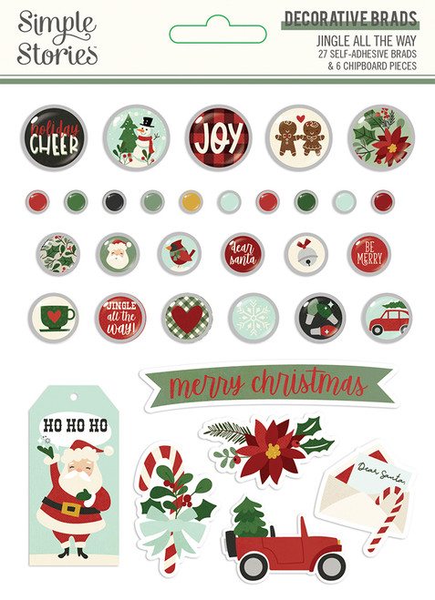 Jingle All The Way Collection 5 x 6 Decorative Scrapbook Brads by Simple Stories