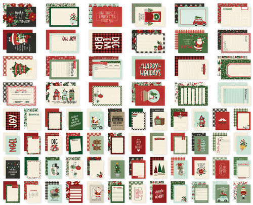 Jingle All The Way Collection Sn@p! Cards Scrapbook Embellishments by Simple Stories - (48) 3 x 4 & (24) 4 x 6 Double-Sided Cards
