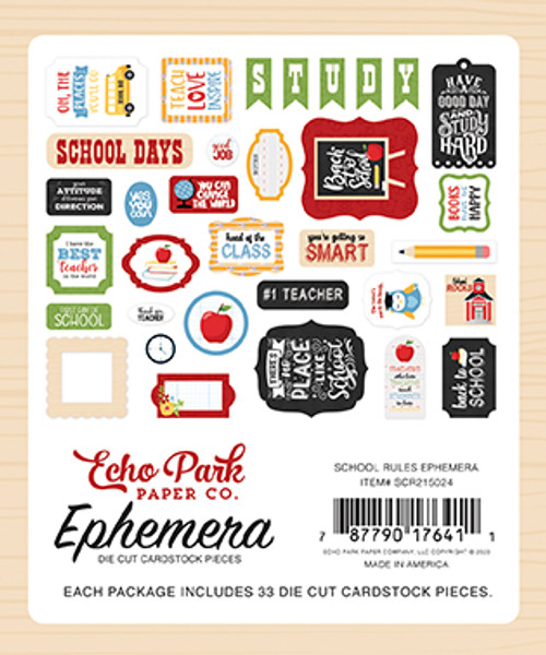 School Rules Collection Ephemera Scrapbook Die Cut Embellishments by Echo Park Paper