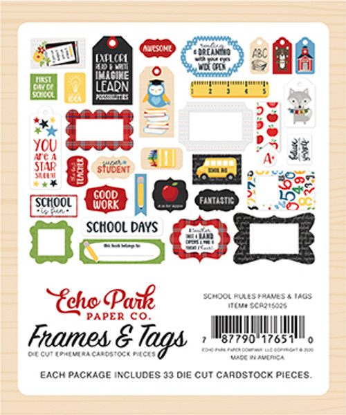 School Rules Collection Frames & Tags Scrapbook Die Cut Embellishments by Echo Park Paper