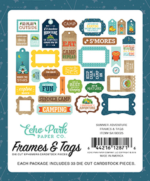 Summer Adventure Collection 5 x 5 Frames & Tags Die Cut Scrapbook Embellishments by Echo Park Paper