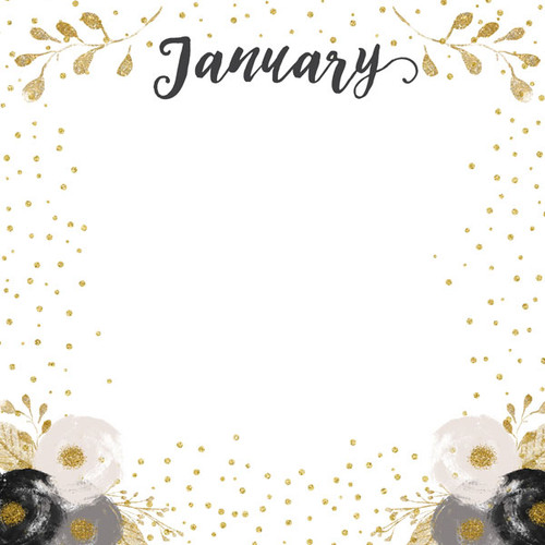 Calendar Memories Collection January 12 x 12 Double-Sided Scrapbook Paper by Scrapbook Customs