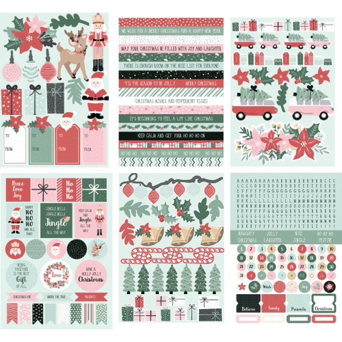 Peppermint Kisses Collection Stickers 5.5 x 8 Scrapbook Sticker Book by Kaisercraft