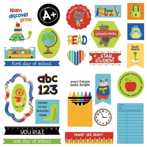 Recess Collection 5 x 5 Die Cut Scrapbook Embellishments by Photo Play Paper