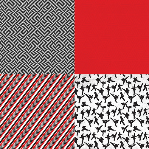Martial Arts Collection Sparring 12 x 12 Double-Sided Scrapbook Paper by Photo Play Paper