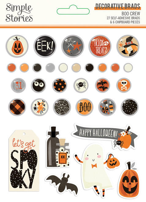 Boo Crew Collection 5 x 7 Decorative Scrapbook Brads by Simple Stories
