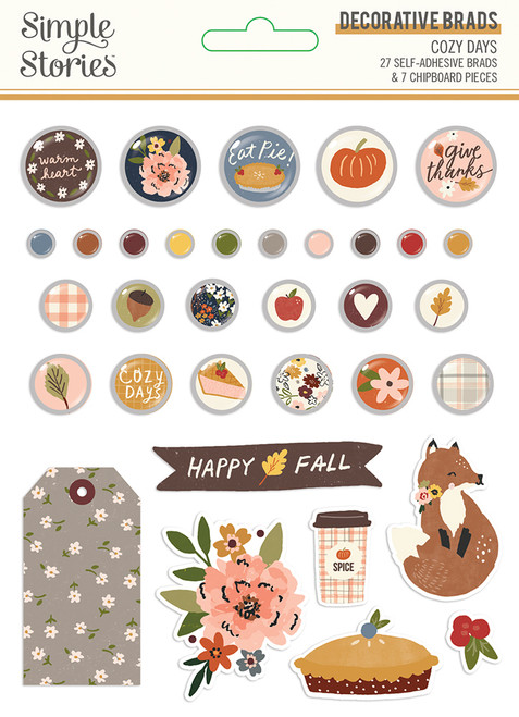 Cozy Days Collection Decorative Scrapbook Brads by Simple Stories