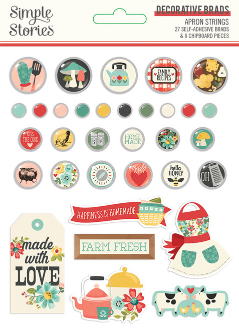 Apron Strings Collection Decorative Scrapbook Brads by Simple Stories