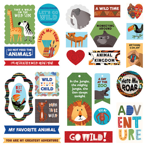 A Walk on the Wild Side Collection Cardstock Ephemera Scrapbook Embellishments by Photo Play Paper