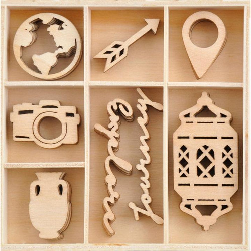 Journey Collection Wooden Flourish Pack by Kaisercraft - 40 Pieces
