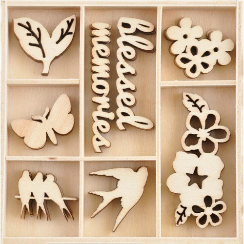 Morning Dew Collection Wooden Flourish Pack by Kaisercraft - 40 Pieces