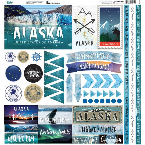 Alaska Cruise Kit Collection Scrapbook Page Kit by Reminisce (includes 8 - 12 x 12 Double-Sided Papers and 1 Coordinating 12 x 12 Sticker Sheet)