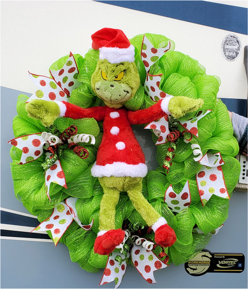 """The Grinchiest Green 16"""" Hand-Crafted Mesh Wreath by SSC Designs"""
