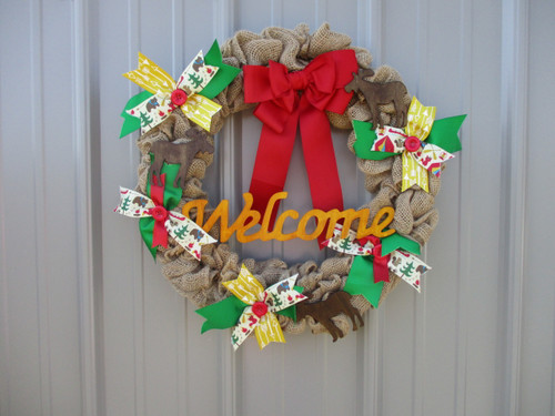 "Welcome Guests To Your Camper With A 16"" Hand-Crafted Burlap Wreath by SSC Designs"