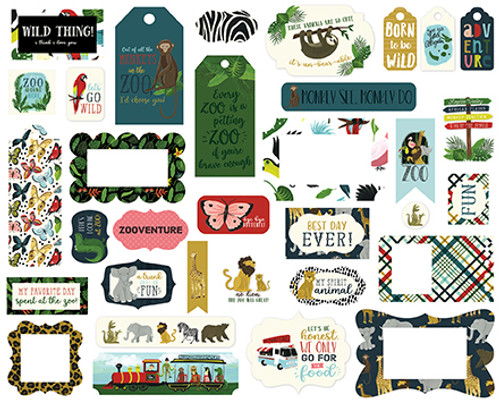 Animal Safari Collection 5 x 5 Scrapbook Tags & Frames Die Cuts by Echo Park Paper