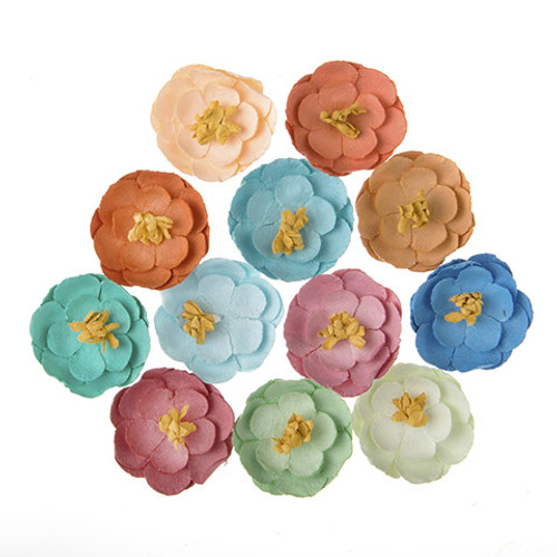 Floral Collection Multi Color 1 inch Flower Scrapbook Embellishment by Darice - 12 Piece