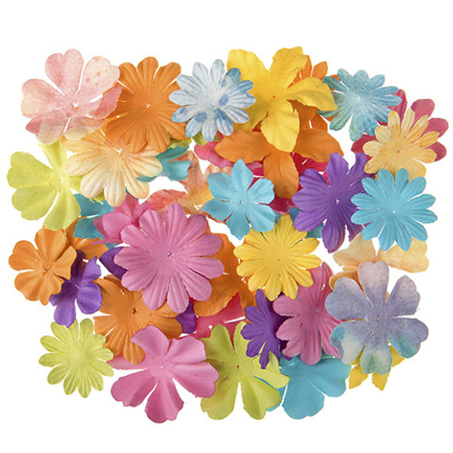 Floral Embellishments Collection Watercolor 1.25 to 1.75 inch Blooms Scrapbook Embellishment by Darice - 65 Pieces