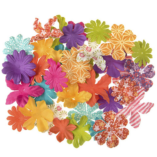 Floral Embellishments Collection Boho Print 1.25 to 1.75 inch Blooms Scrapbook Embellishment by Darice - 65 Pieces